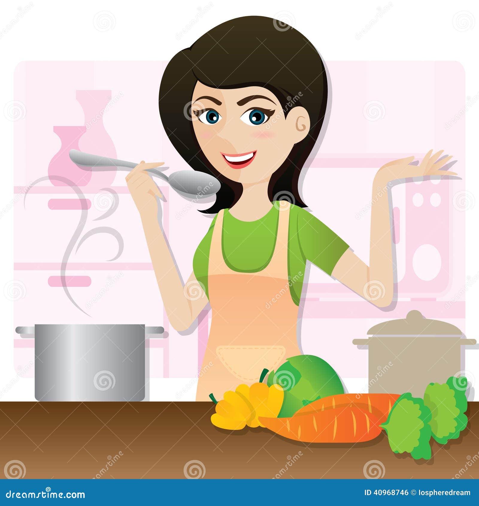 Cartoon Smart Girl Cooking Vegetarian Soup In Kitchen ...
