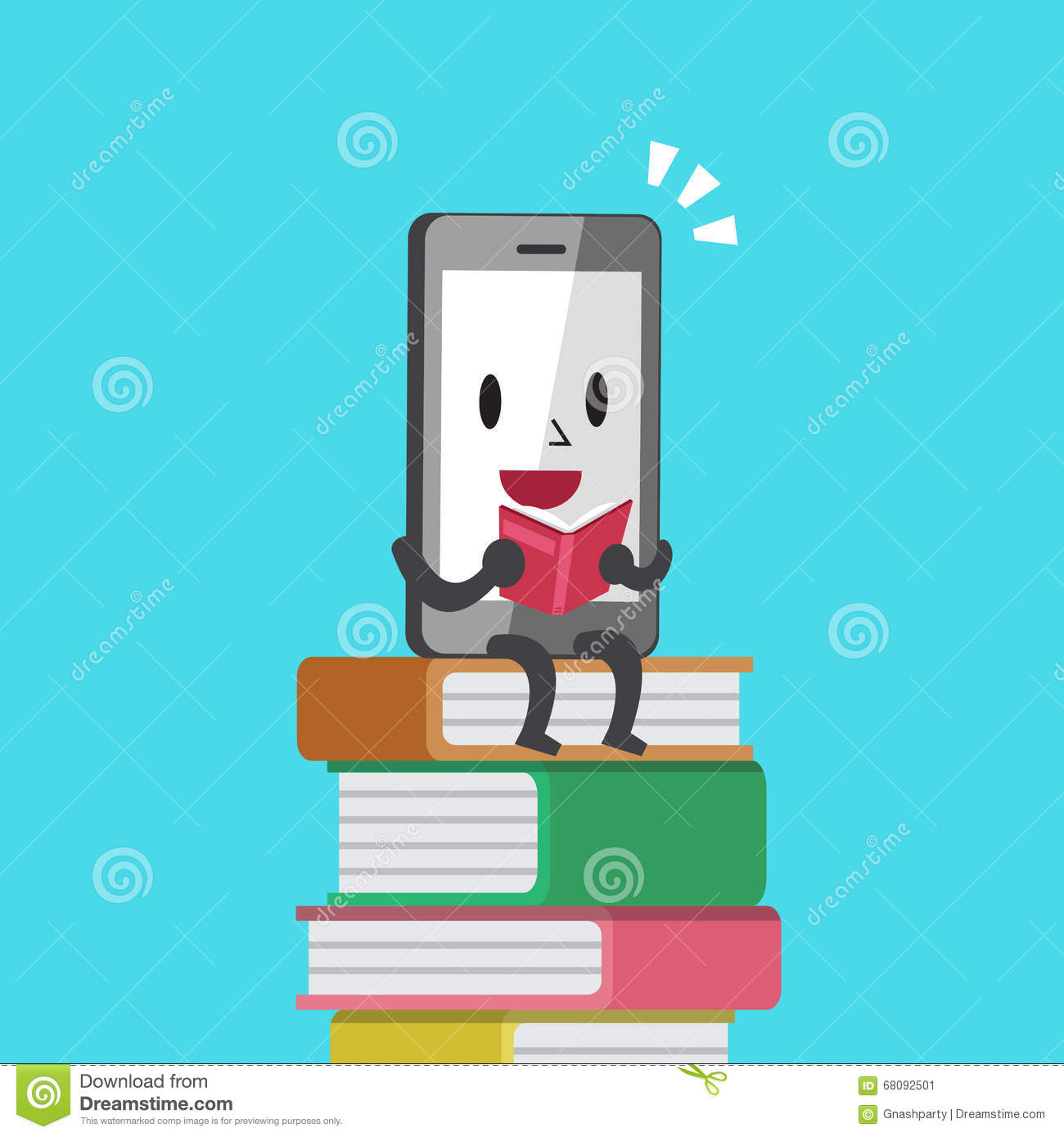 Cartoon Characters Phone Numbers : Cartoon smartphone character reading a book stock vector