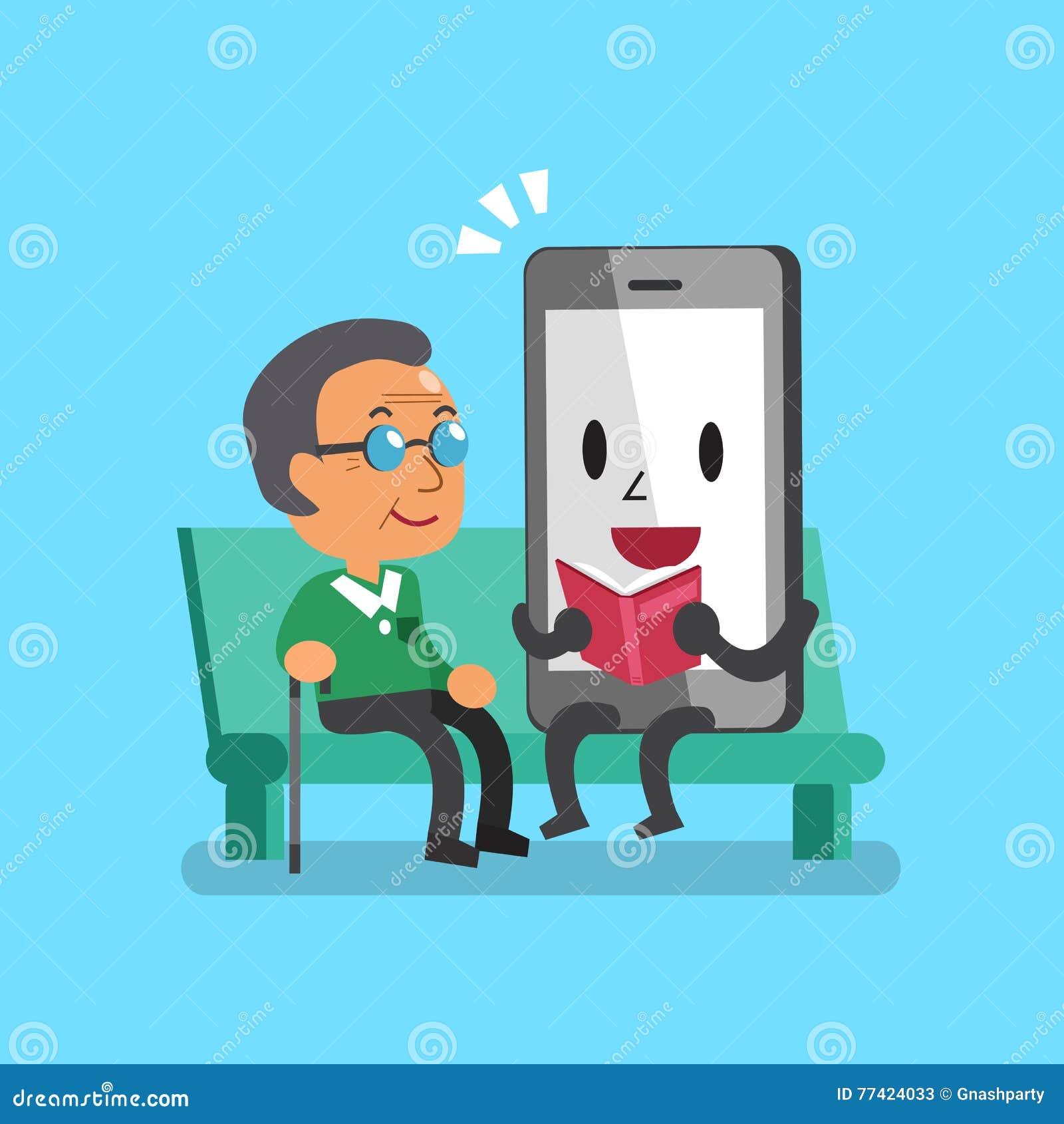 Cartoonsmart Character Design : Cartoon smartphone with senior people vector illustration