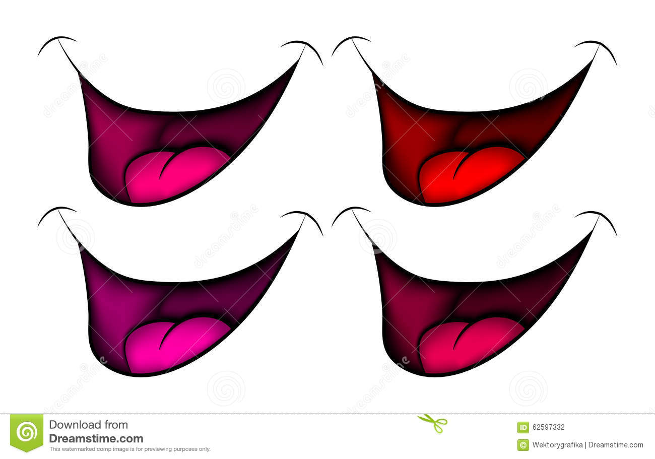Stock Vector: Cartoon smile, mouth, lips with teeth and tongue. vector ...