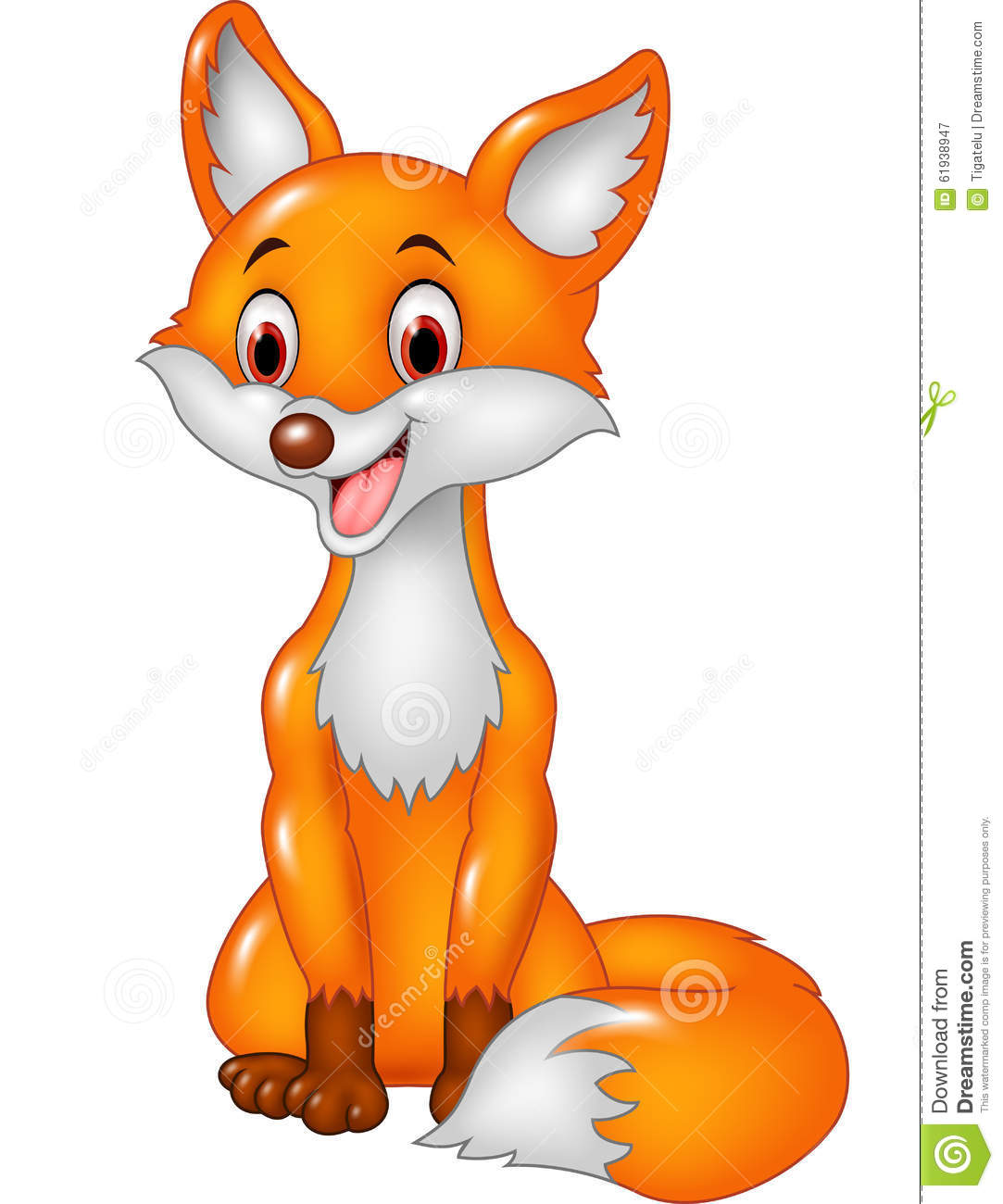 Illustration of Cartoon smiley fox sitting on white background.