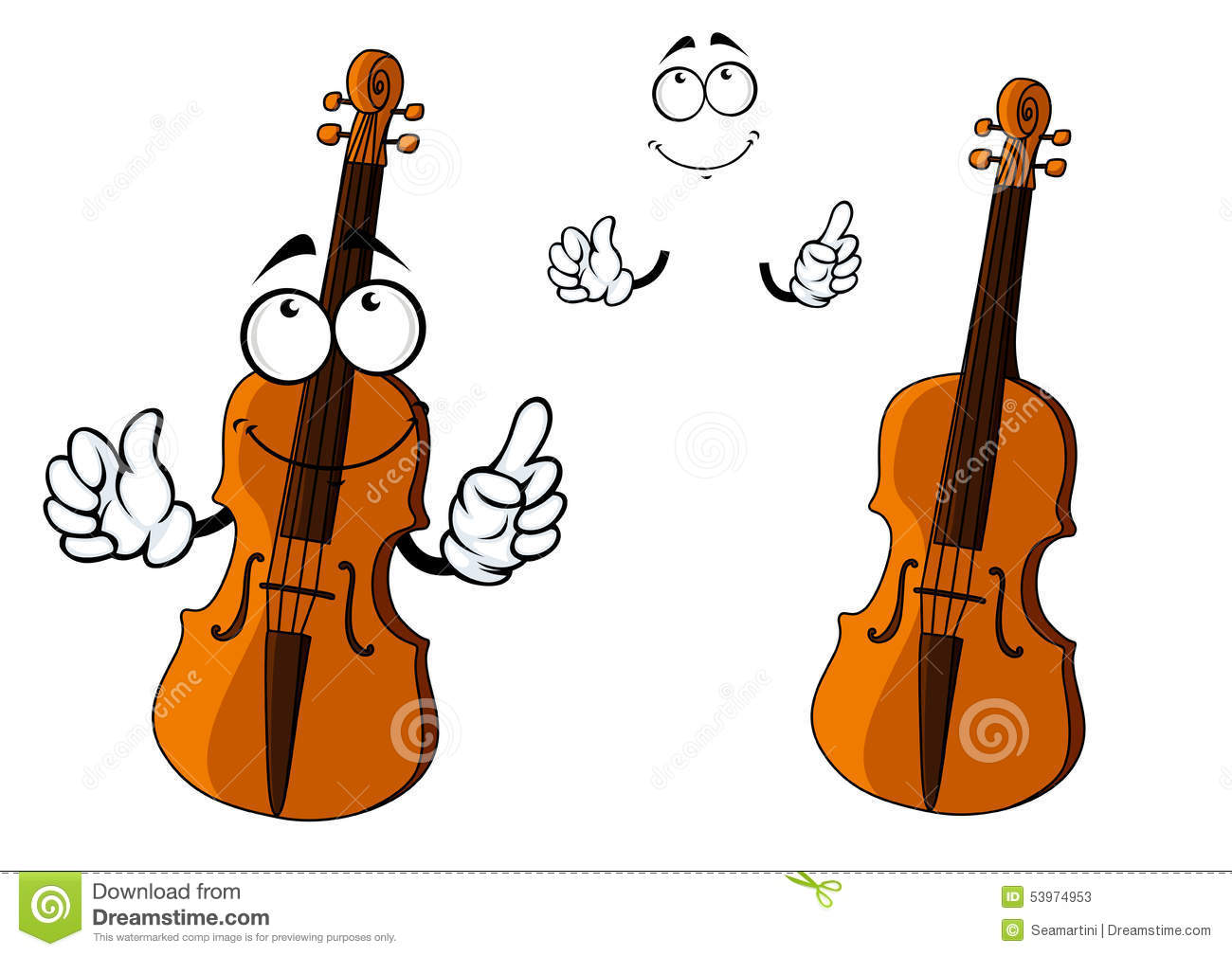 Cartoon Violin Images: Cartoon Smiling Brown Violin Character Stock Vector