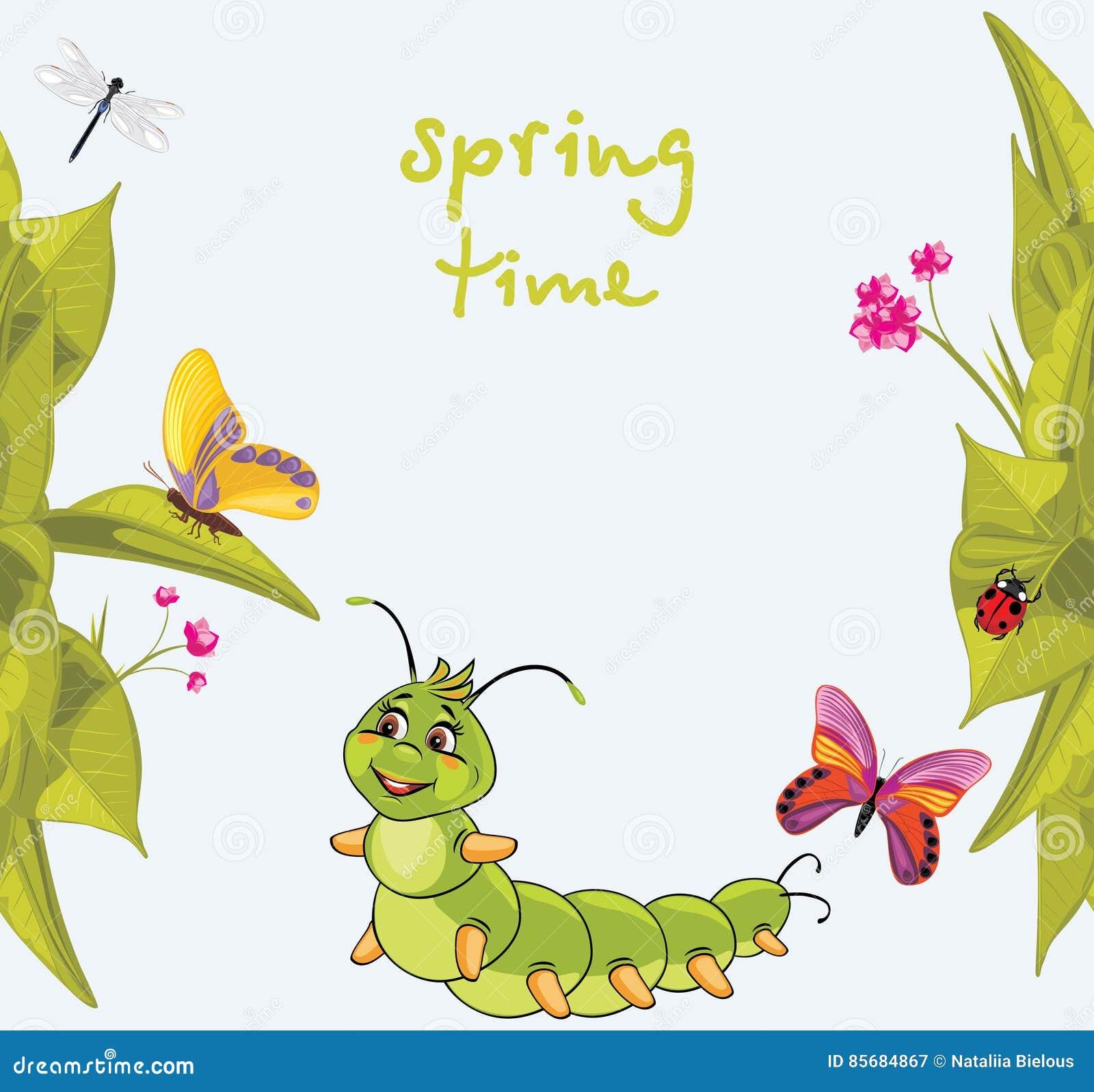 Cartoon Smiling Caterpillar Among Butterflies Stock Vector Illustration Of Butterfly Herb 85684867