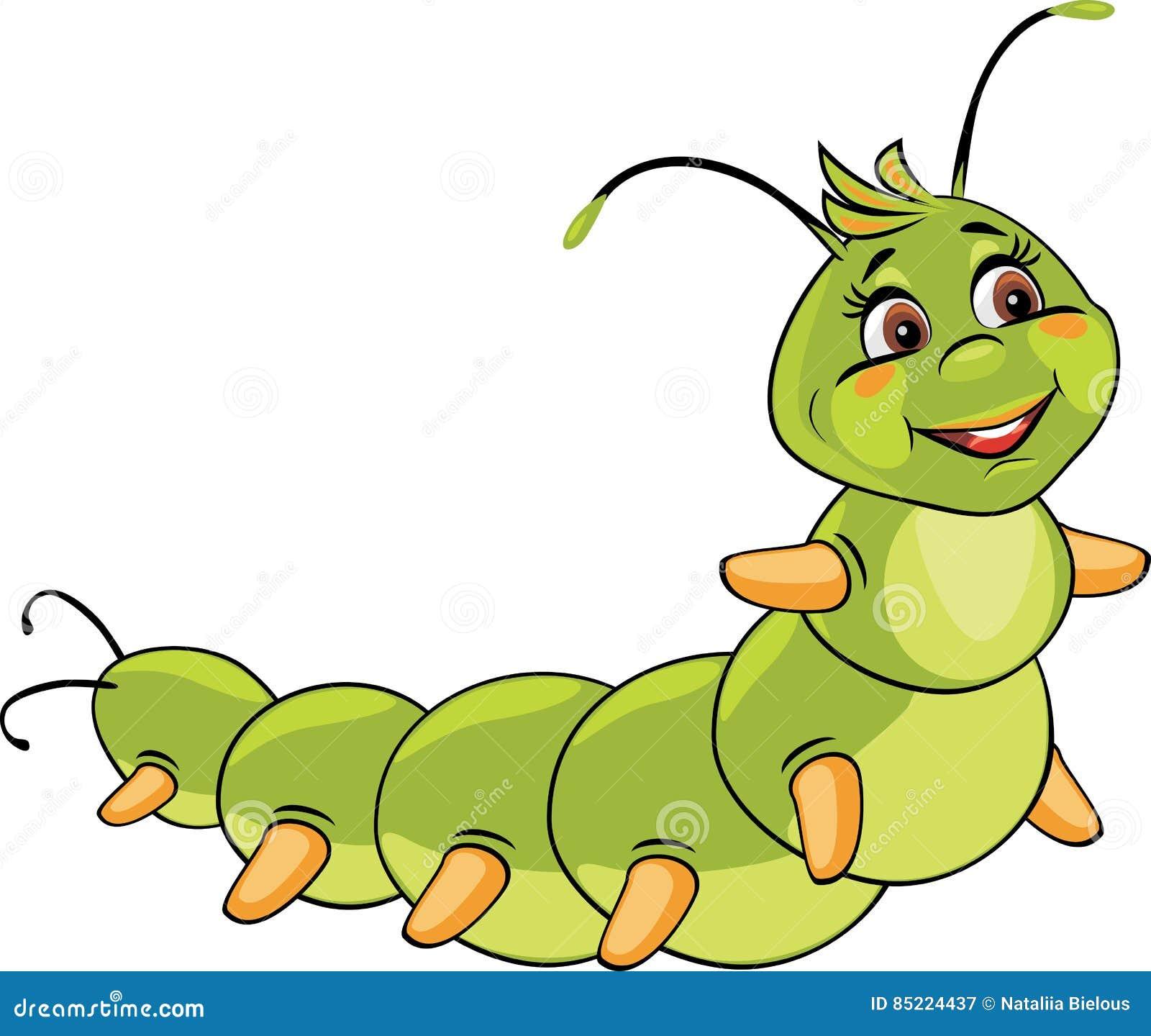 Cartoon smiling caterpillar