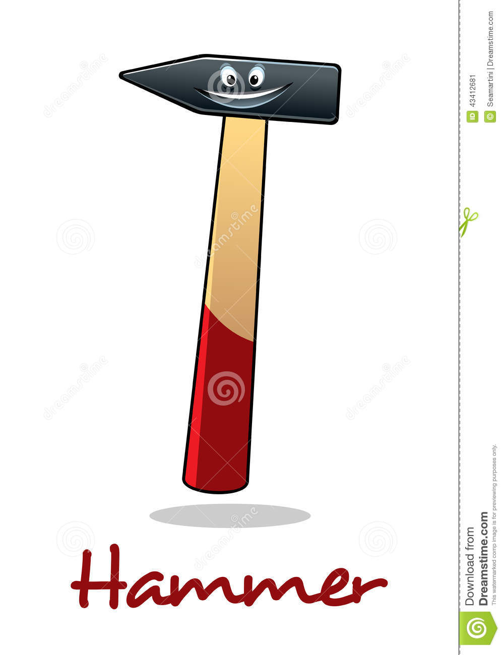 Cartoon Character Design Tool : Cartoon smiling hammer tool stock vector image
