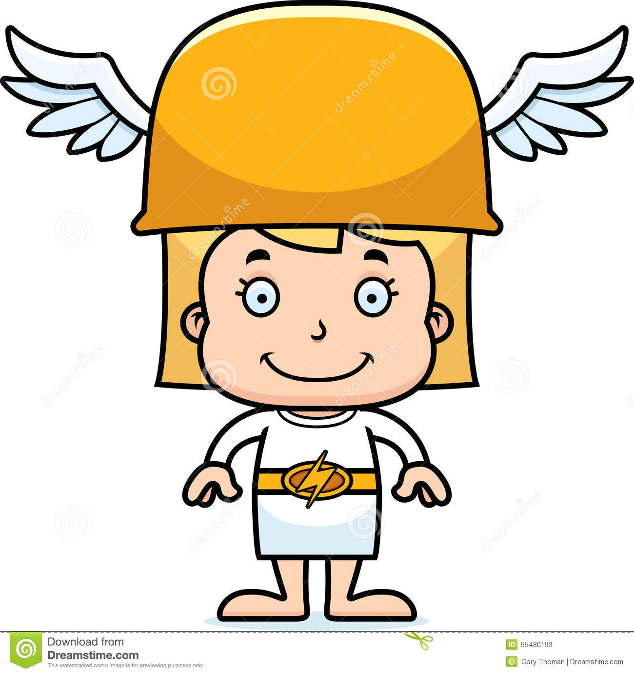 Cartoon Smiling Hermes Girl Stock Vector - Illustration ...