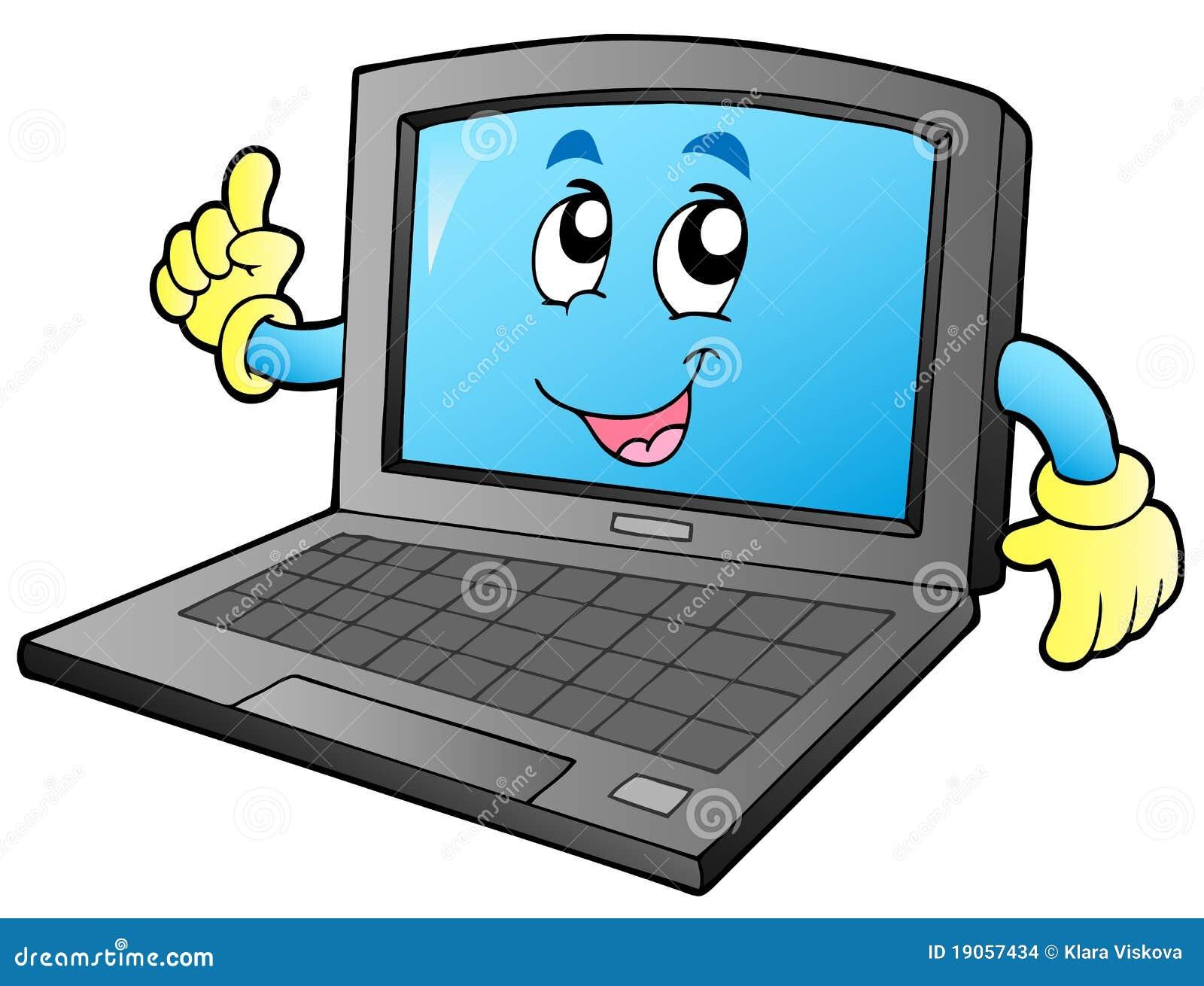 Cartoon Smiling Laptop Stock Images - Image: 19057434