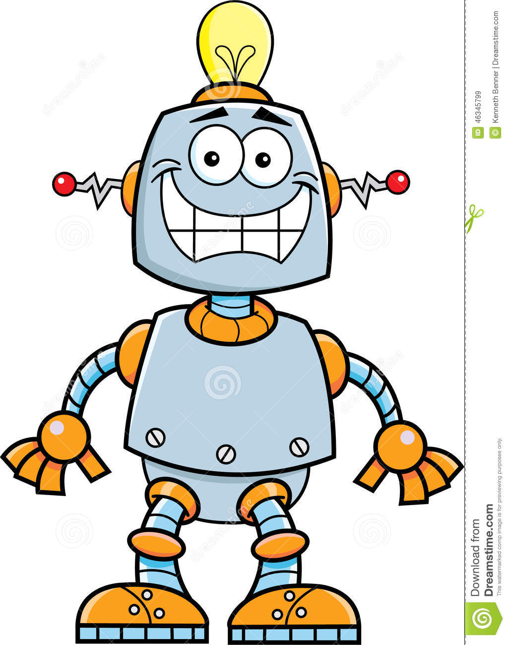 Smiling Robot Toy With Key In The Hole, Vector Illustration ...
