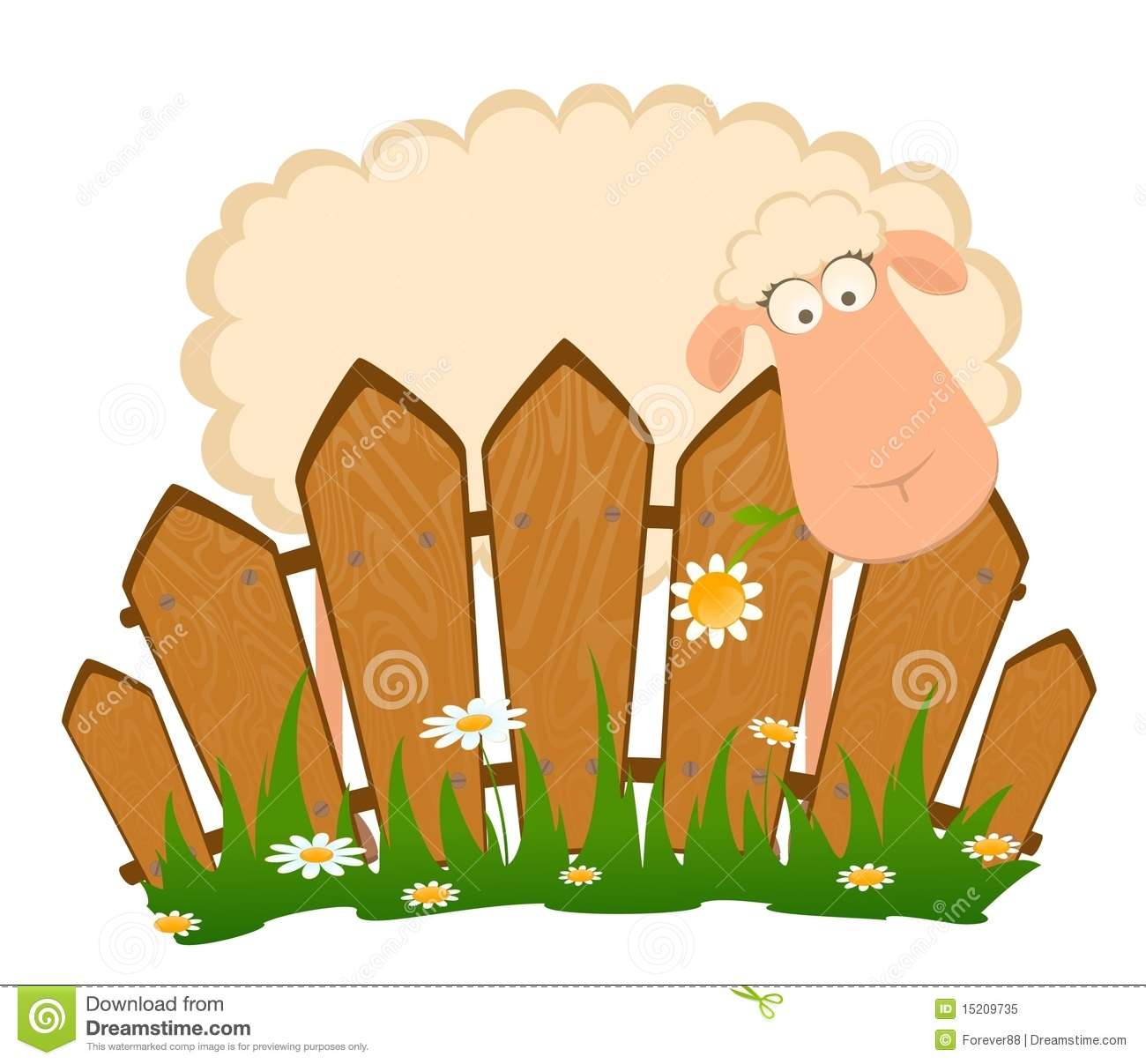 Cartoon Smiling Sheep After A Fence Royalty Free Stock Photo - Cartoon fence clip art