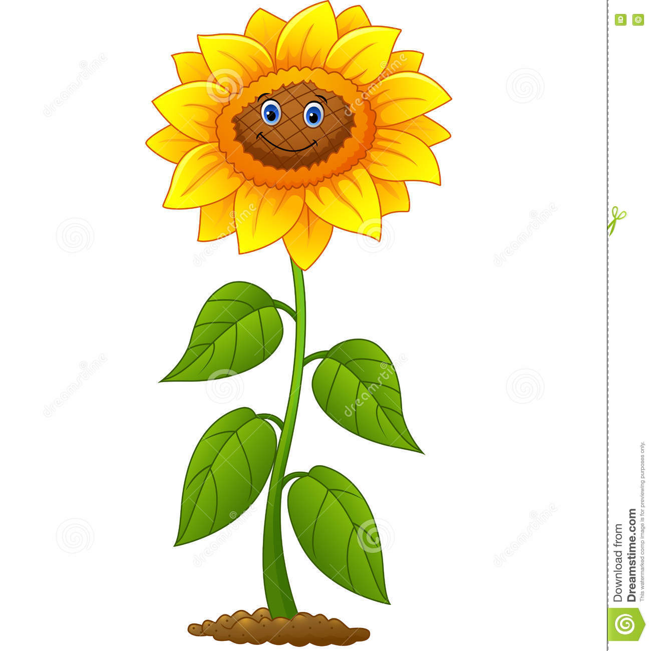 Cartoon smiling sunflower stock vector. Illustration of ...