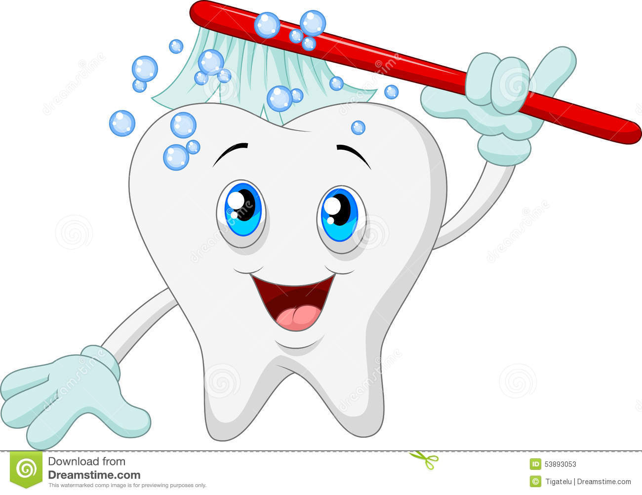 Cartoon Tooth With Toothbrush Vector Illustration