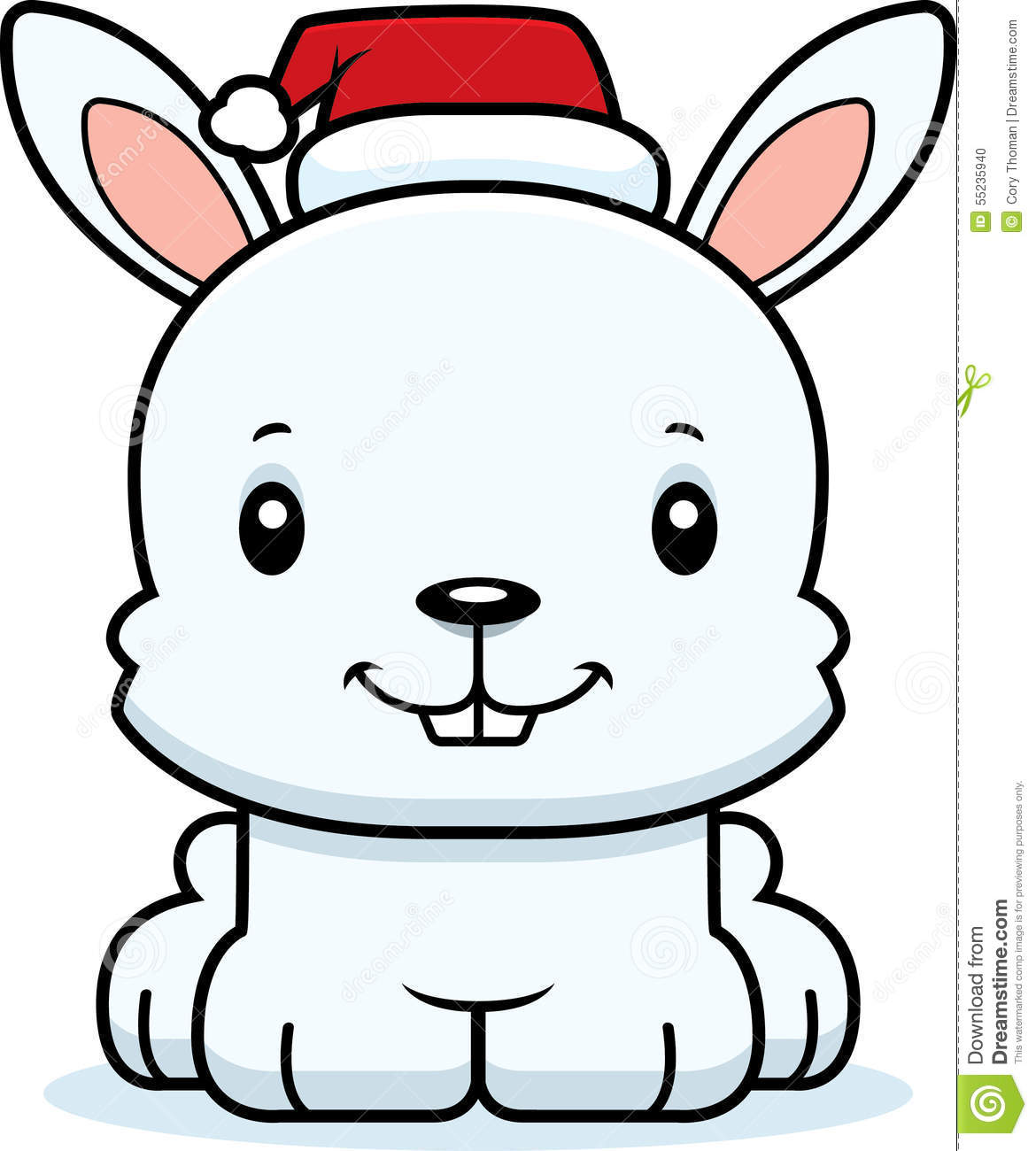Cartoon Smiling Xmas Bunny Stock Vector - Image: 55235940