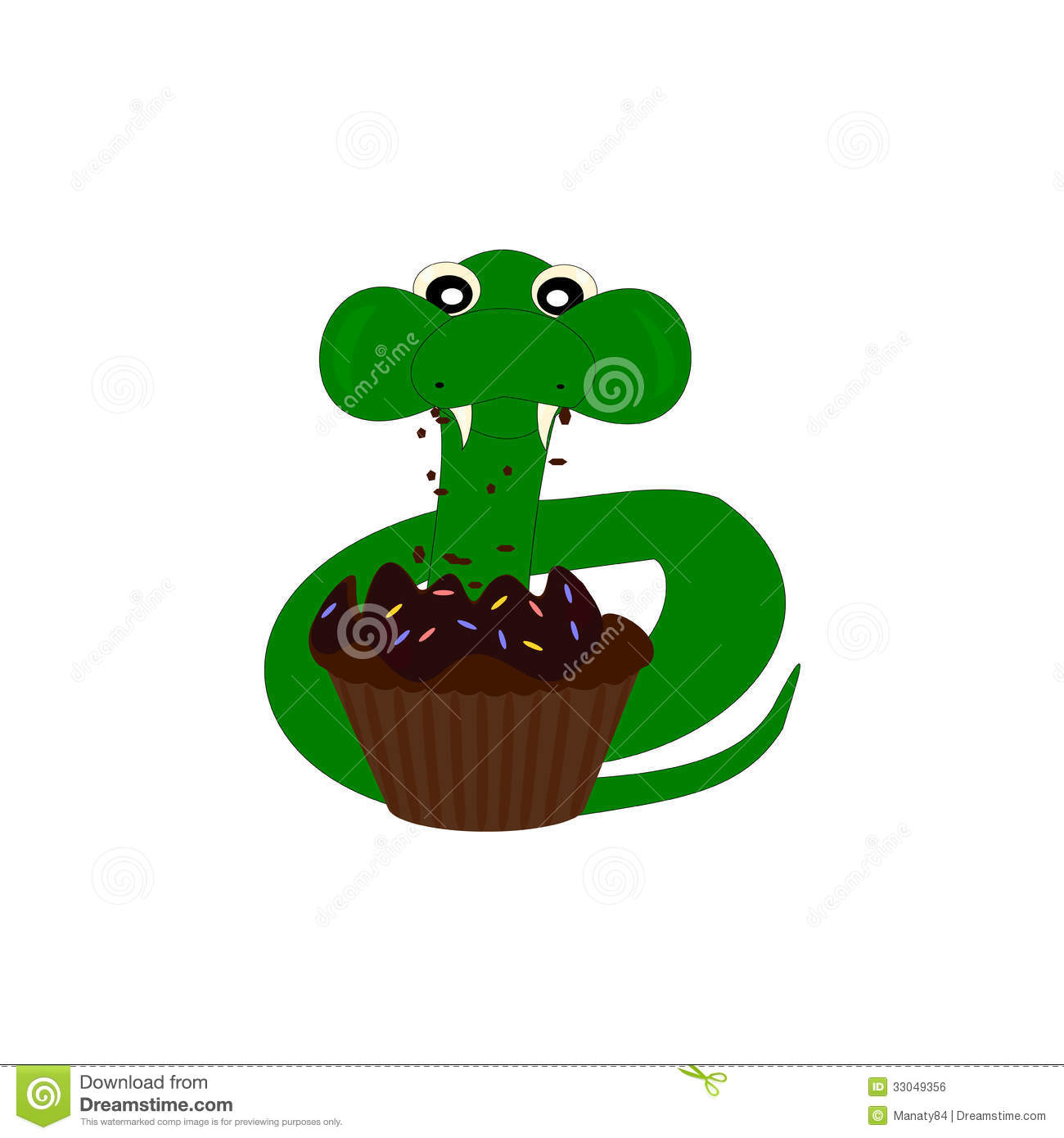 Cartoon Snake Eat Cake Stock Vector. Image Of Hungry