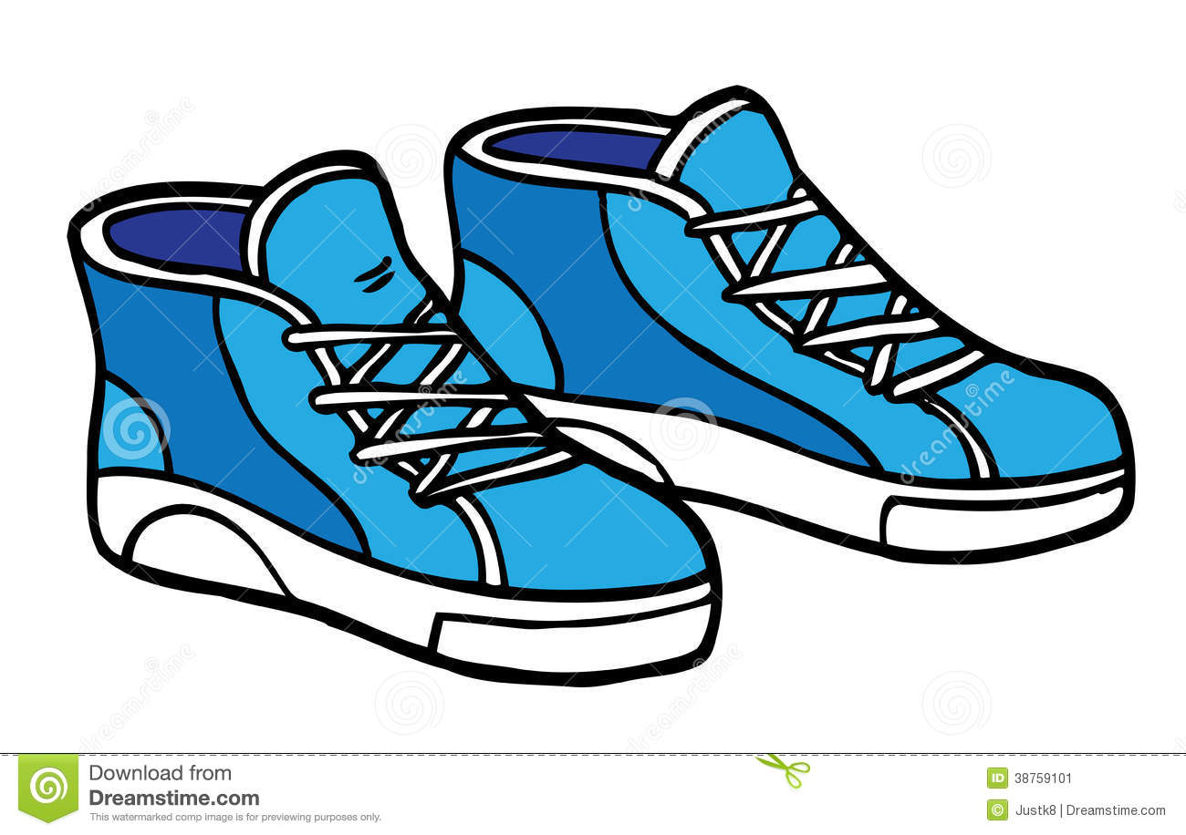 Cartoon Sneakers , Blue And White Stock Illustration