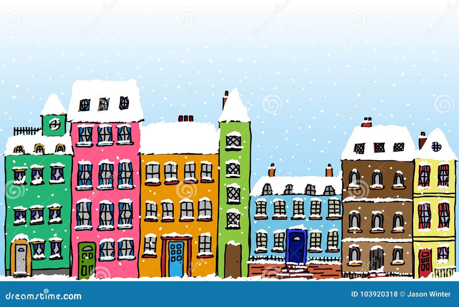Pleasant Cartoon Snow Covered Street Stock Vector Illustration Of Interior Design Ideas Skatsoteloinfo