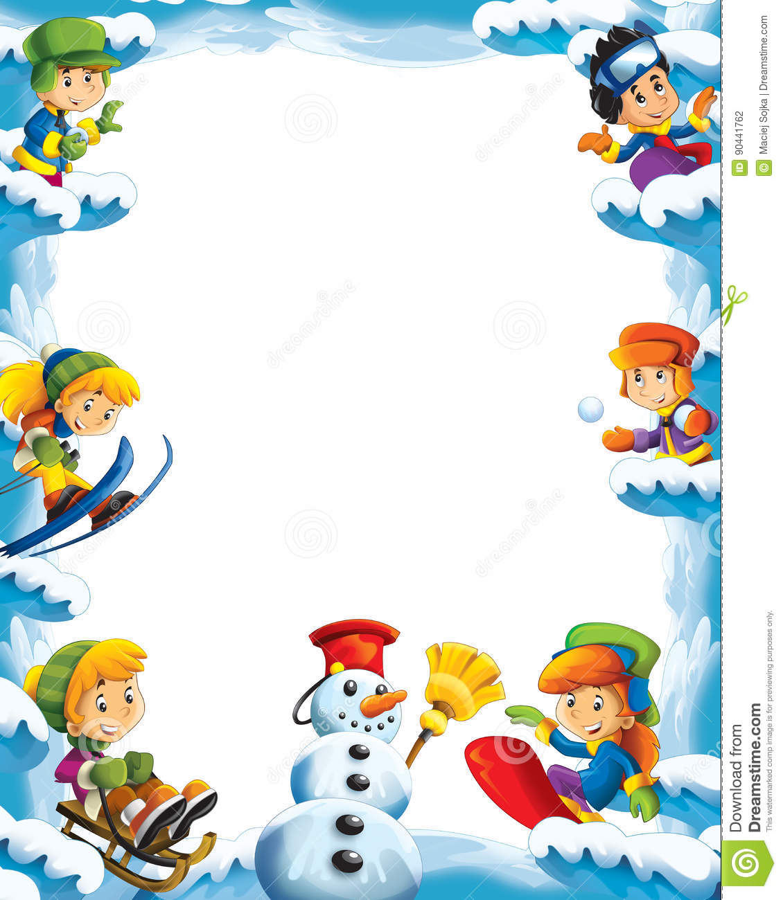 Cartoon snow and ice frame for different usage with space for text