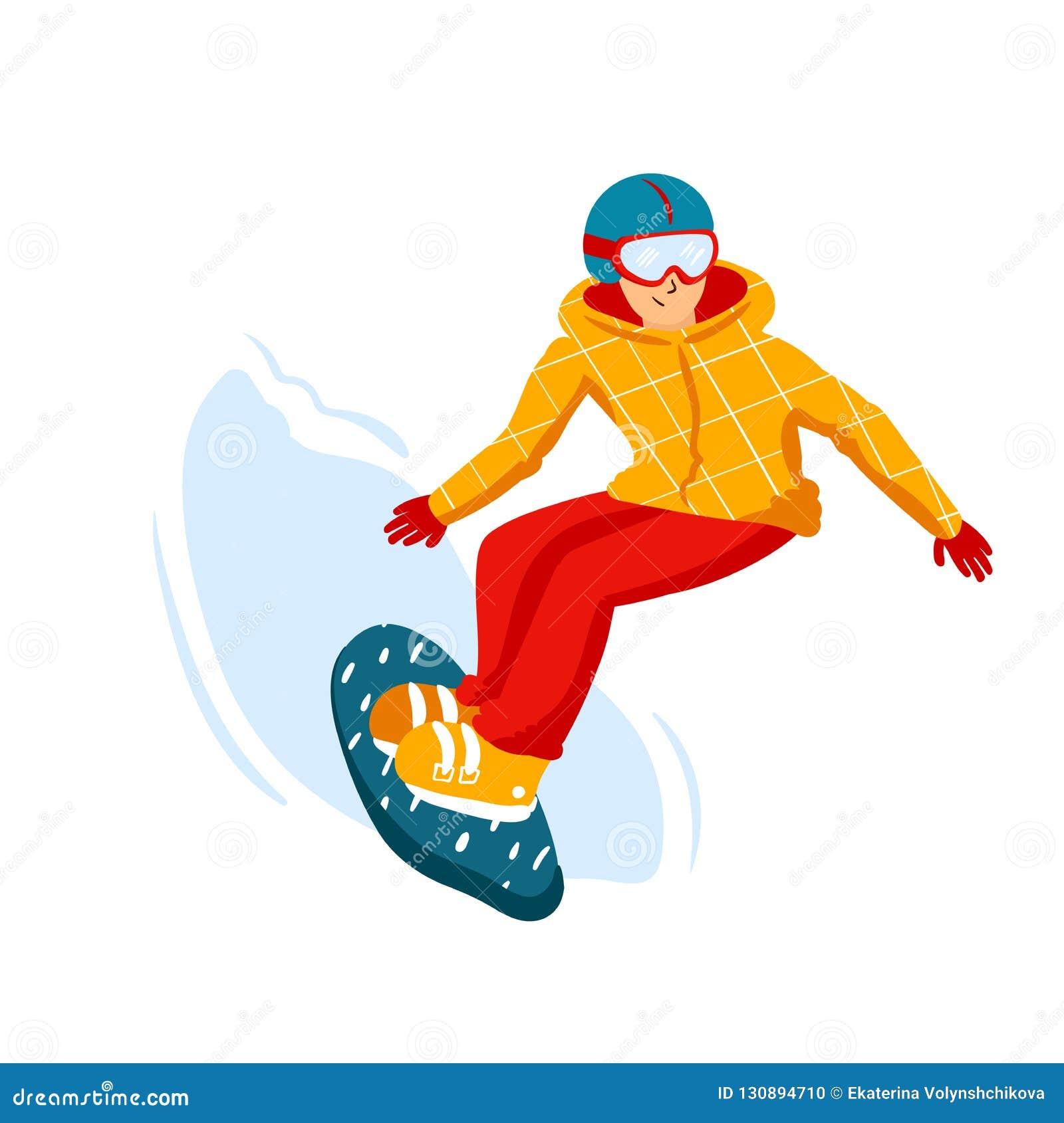 Cartoon Snowboard Riders Men Winter Mountain Sports Activity Ski Resort Vacation Vector Illustration In Simple Flat Stock Vector Illustration Of Rider Mountain 130894710