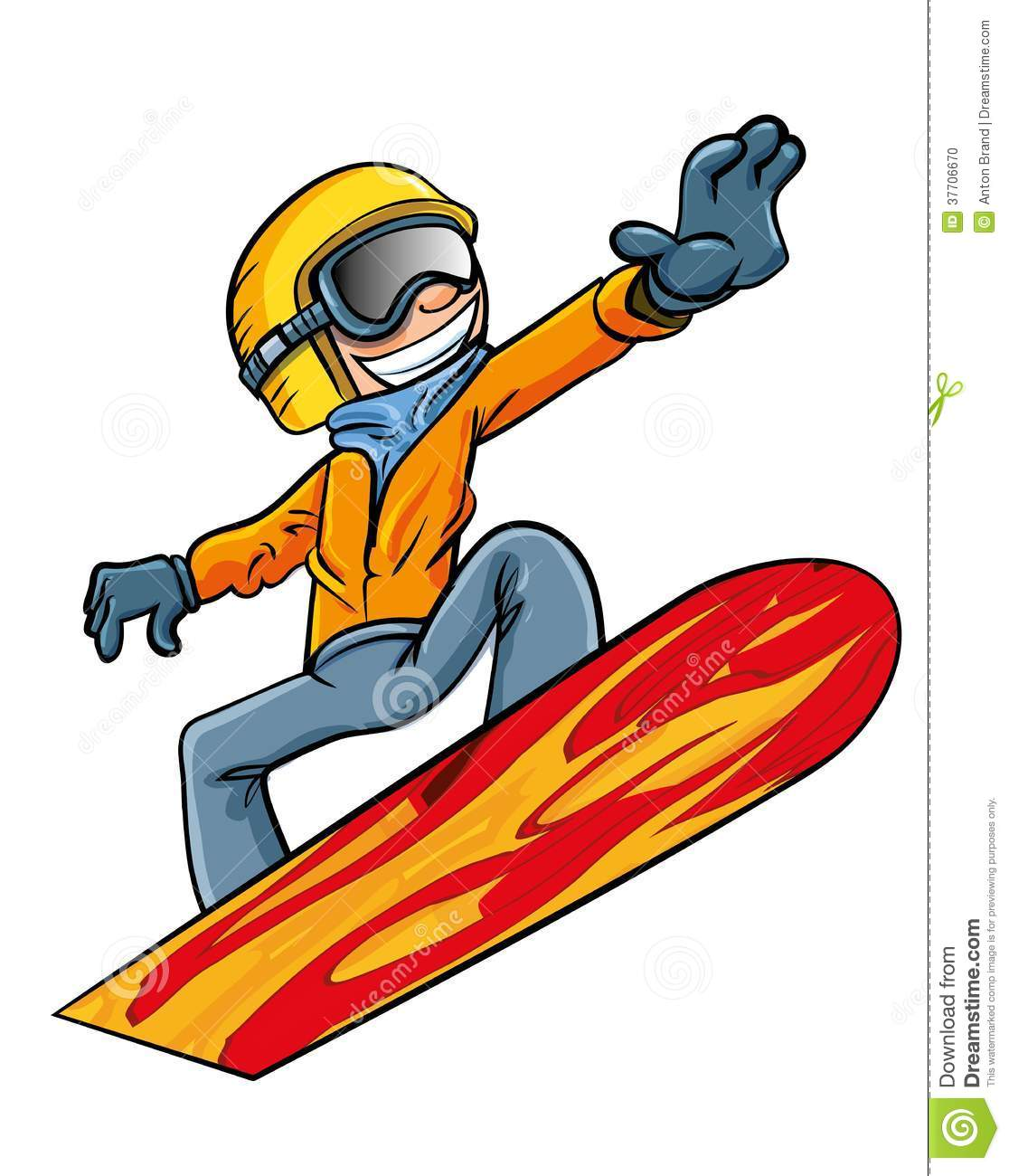 Cartoon Snowboarder Flying Through The Air Stock Photo - Image ...