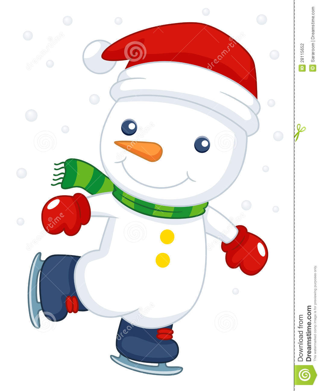Cartoon Snowman Ice Skating Stock Photography - Image: 28115652