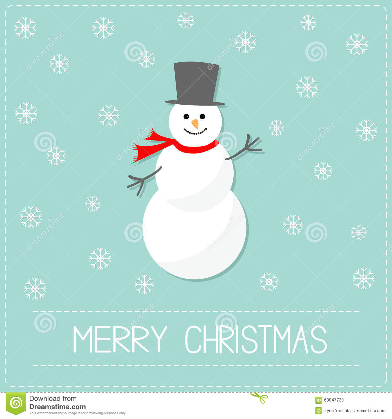 Cartoon snowman and snowflakes blue background merry