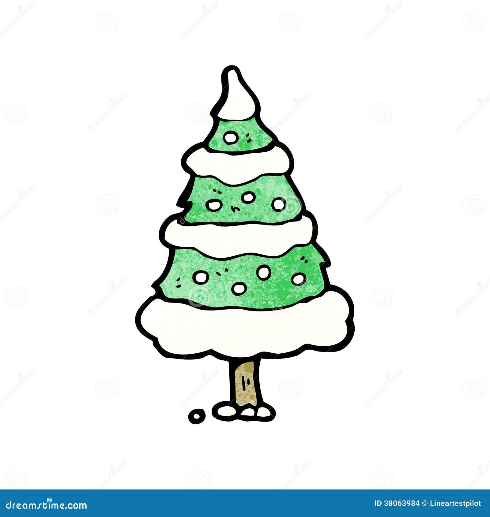 cartoon snowy christmas tree stock images image 38063984