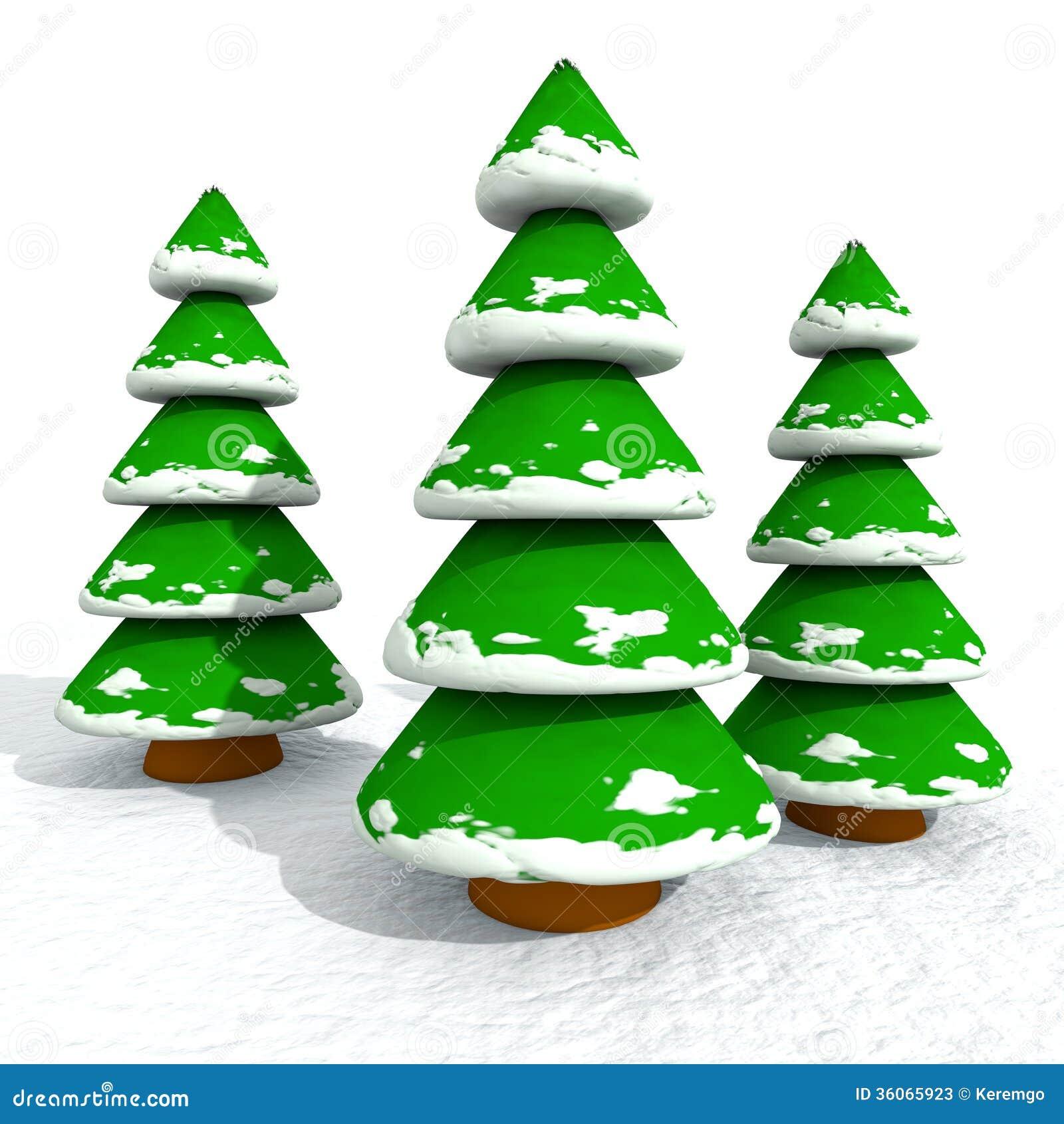 cartoon snowy christmas trees stock photos image 36065923