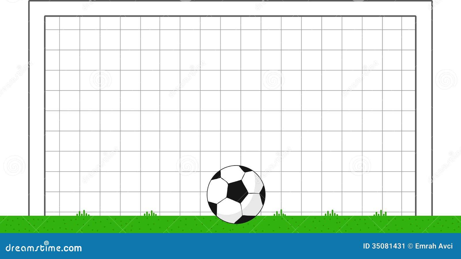 cartoon soccer goal with ball stock illustration