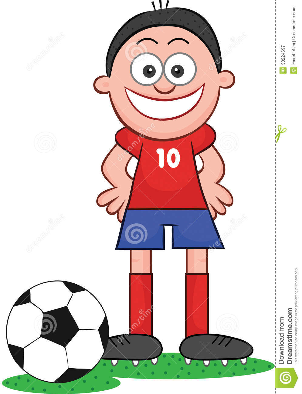cartoon soccer player happy and smiling stock vector