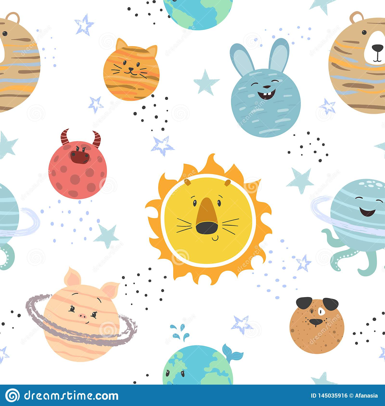 Cartoon Solar System Pattern  Space Vector Background With