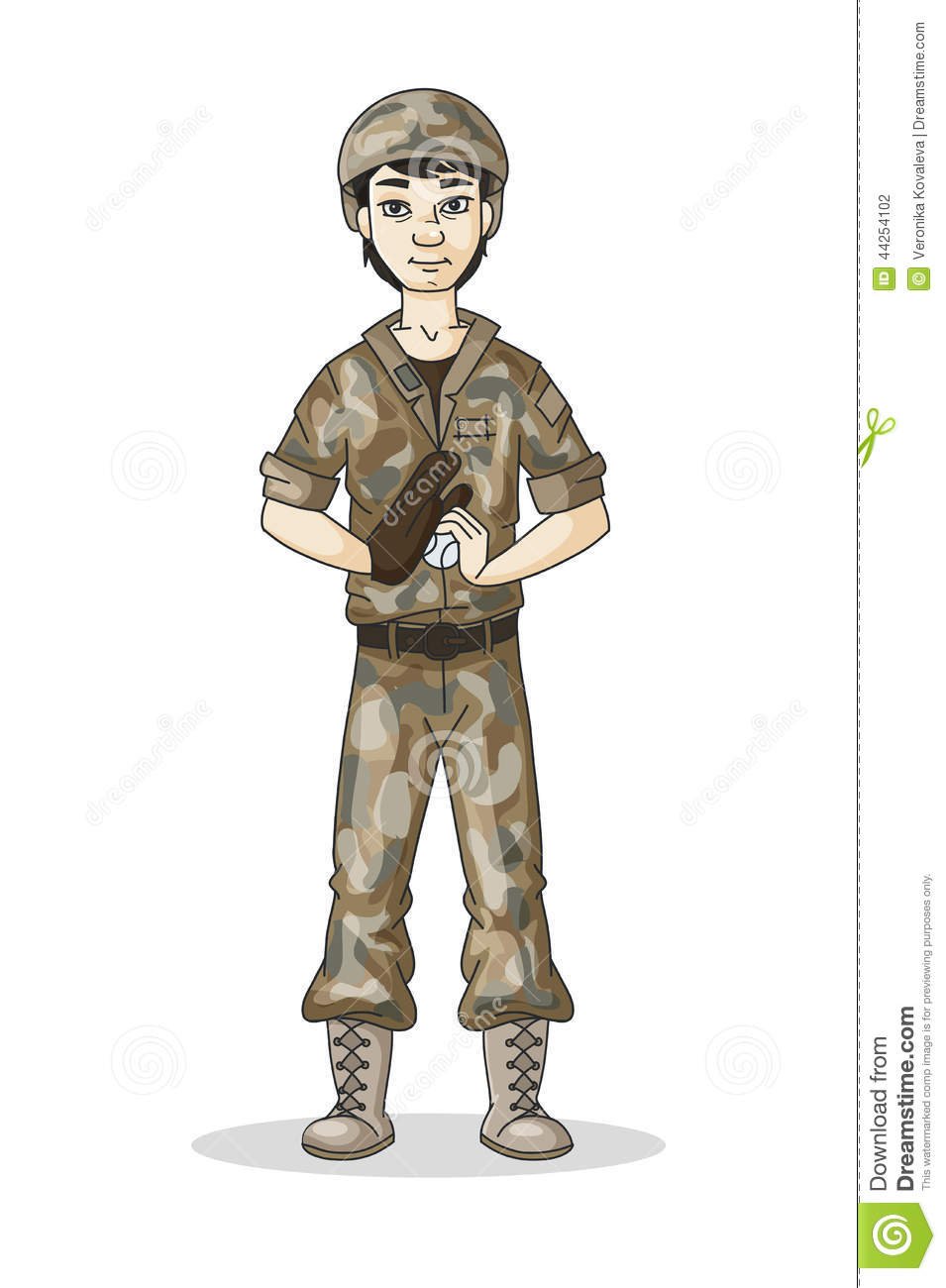 cartoon soldier in camouflage stock vector image 44254102