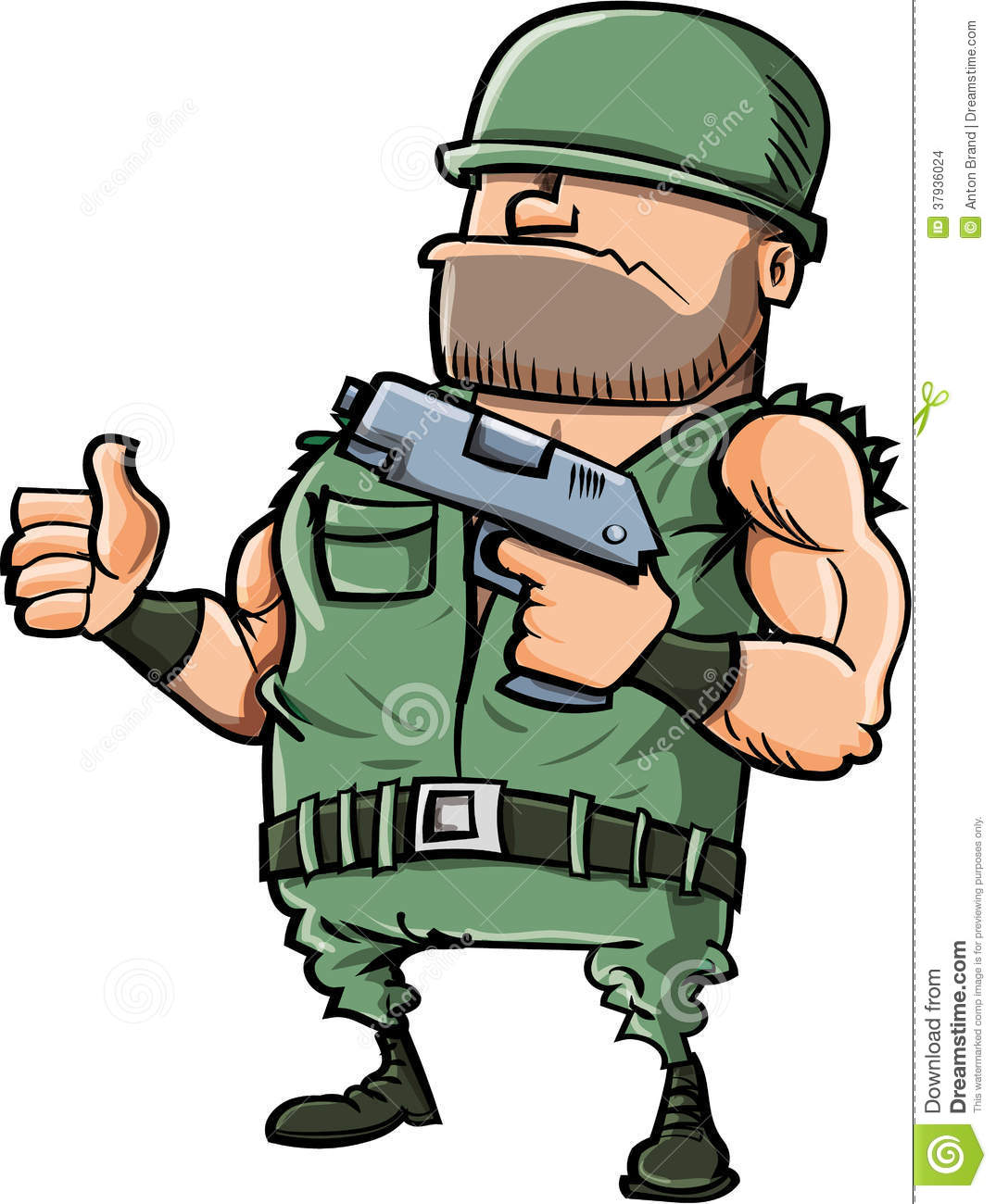 cartoon soldier giving a thumbs up stock illustration