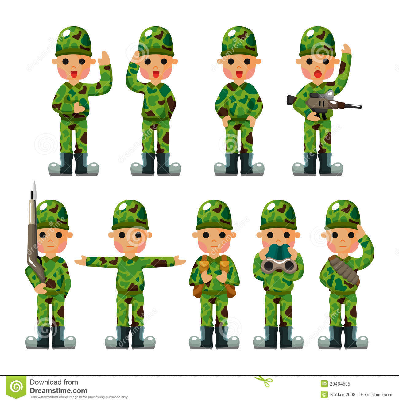 Cartoon Soldier icons set stock vector  Illustration of