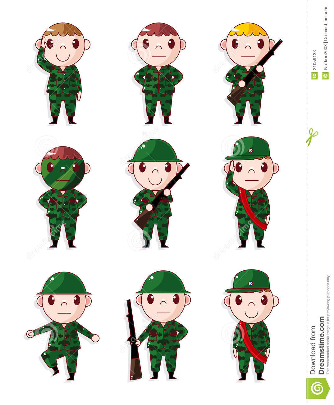 Cartoon Soldier Icons Set Stock Photos Image 21059133