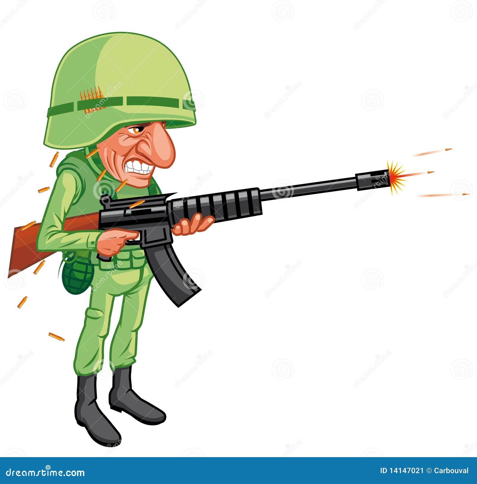 Cartoon soldier shooting stock illustration. Image of ... Soldier With Gun Cartoon