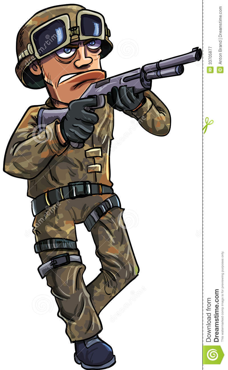 Cartoon Soldier With A Shotgun Royalty Free Stock