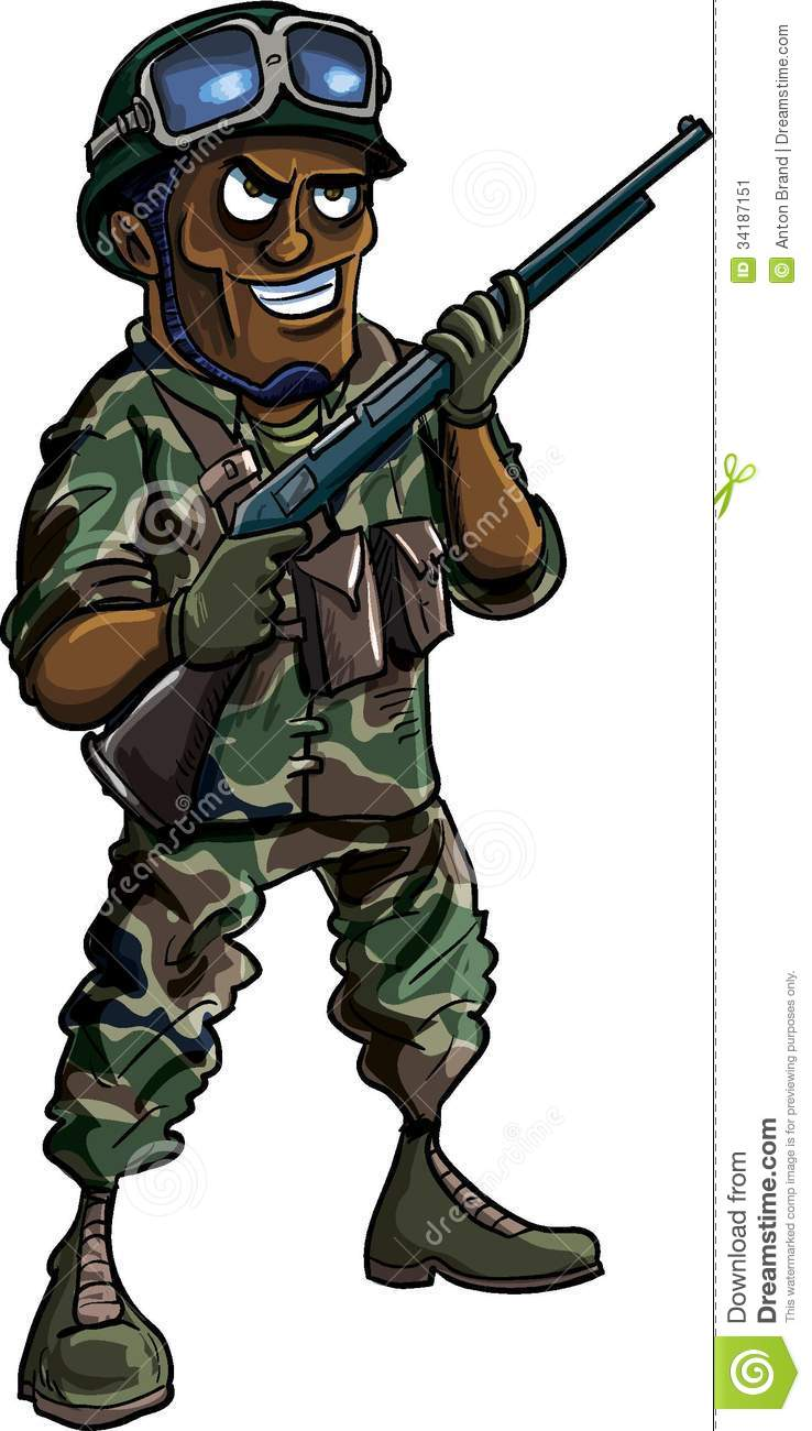 Cartoon Soldier With A Shotgun Stock Image - Image: 34187151