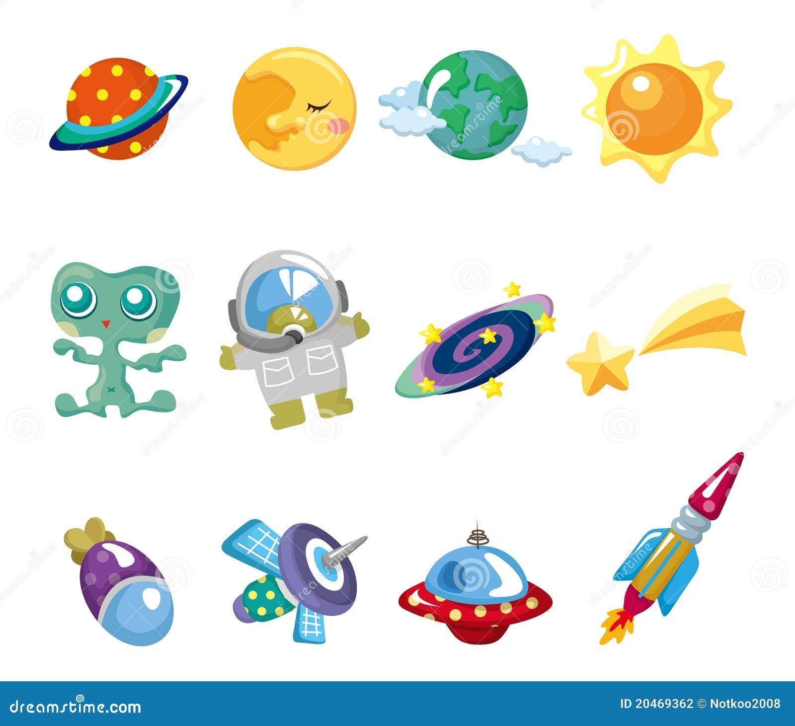 Cartoon space element icons set stock photography image - Dibujos infantiles del espacio ...