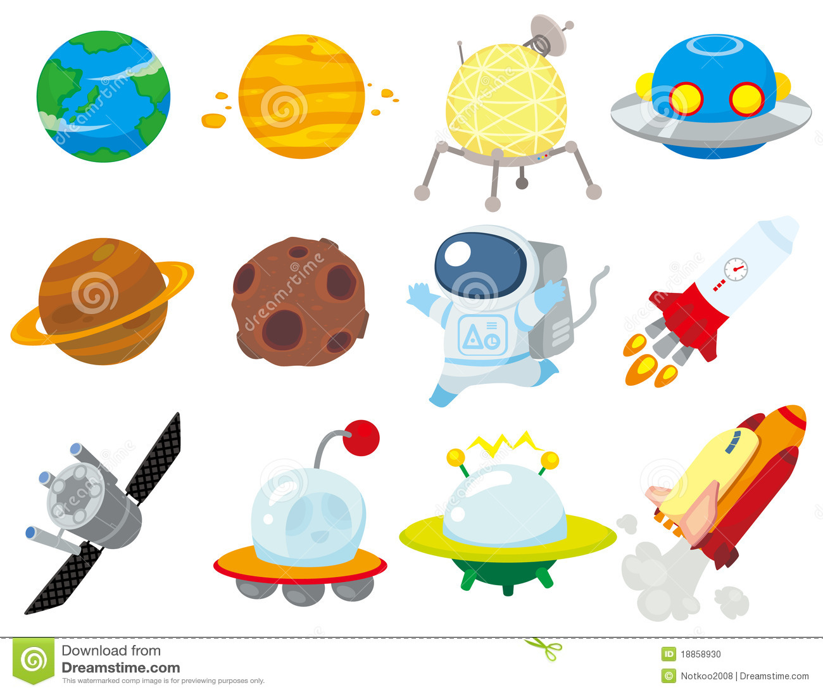 Cartoon space icon stock photo image 18858930 - Dibujos infantiles del espacio ...