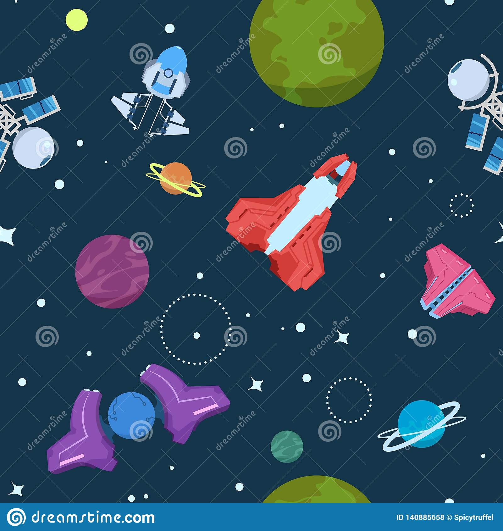 Cartoon Space Seamless Pattern Alien Planets Ufo Rockets