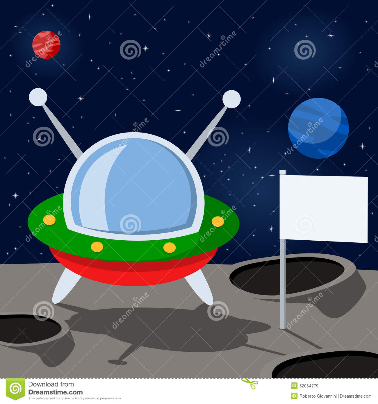 Cartoon Spacecraft on a Mysterious Planet