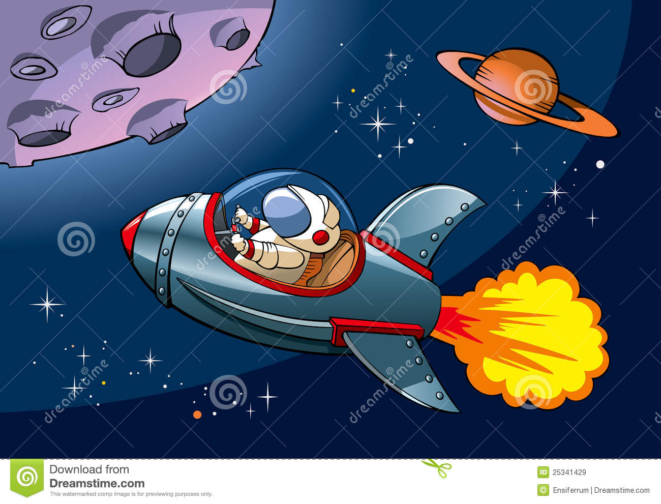 Spaceship with astronaut approaching a planet, vector illustration.