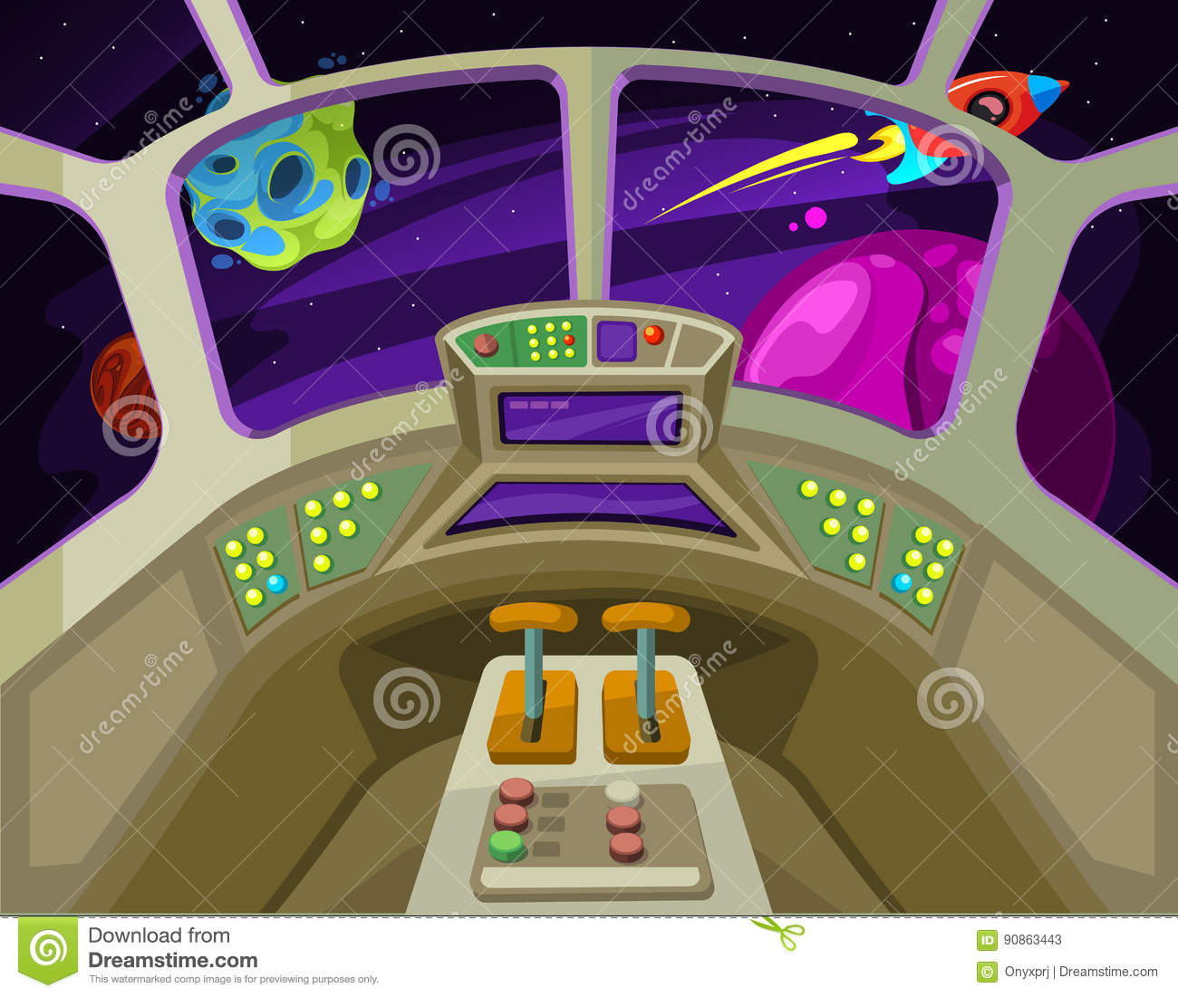 cartoon spaceship cabin interior with windows into space with alien planets vector illustration. Black Bedroom Furniture Sets. Home Design Ideas