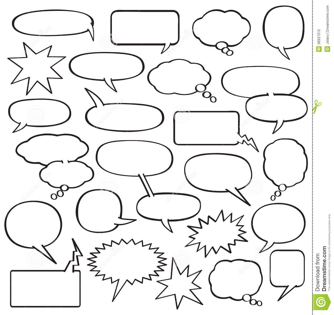 collection of blank cartoon speech, sound and thought bubbles in ...