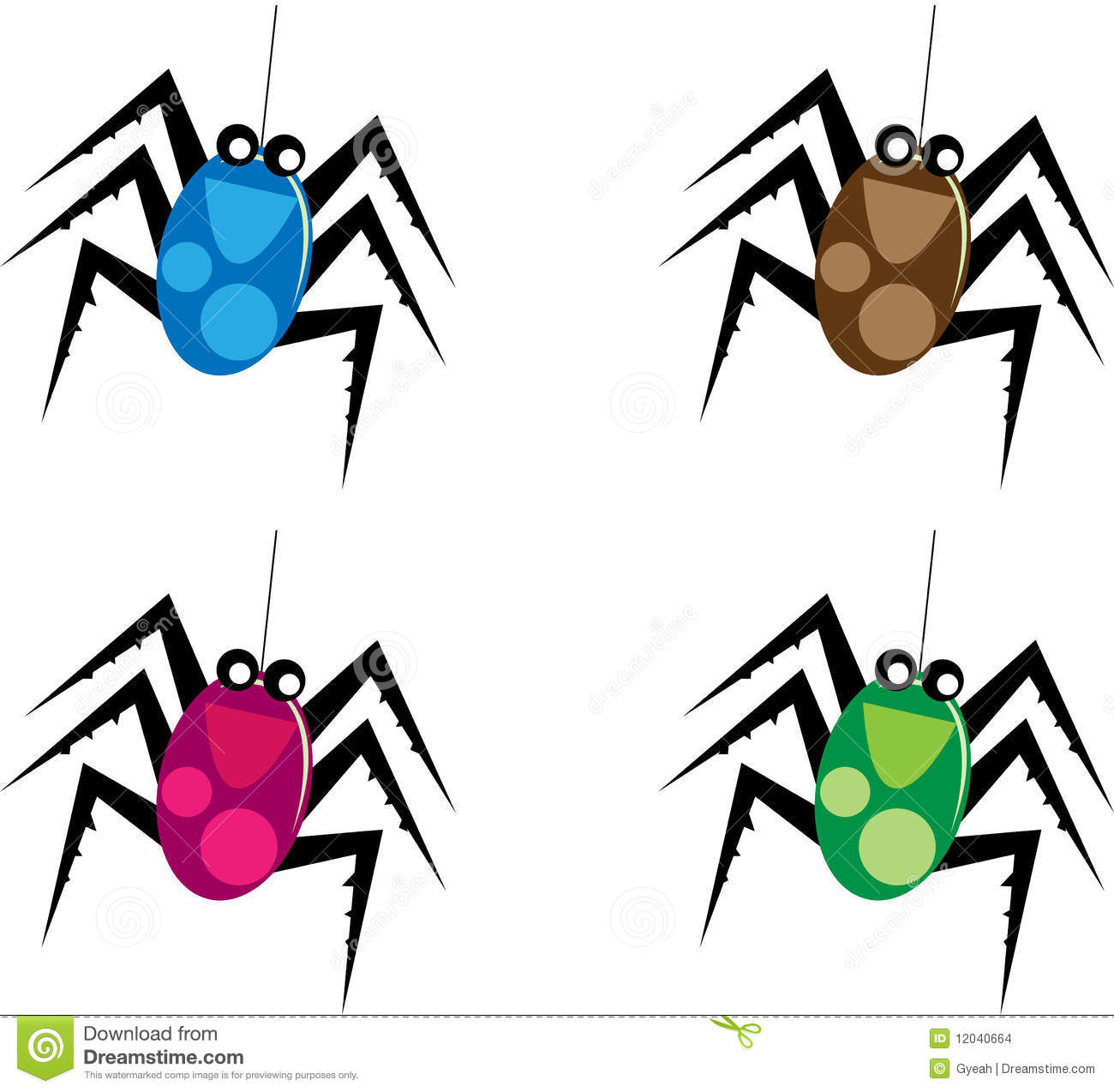 clip art illustration of a cartoon spider.