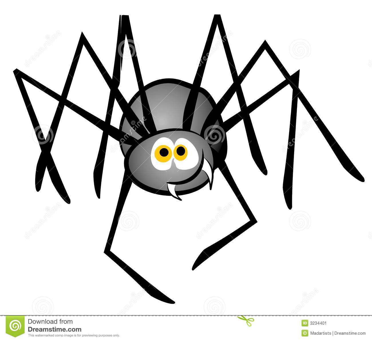 clip art illustration of a cartoon spider in grey and black with a ...