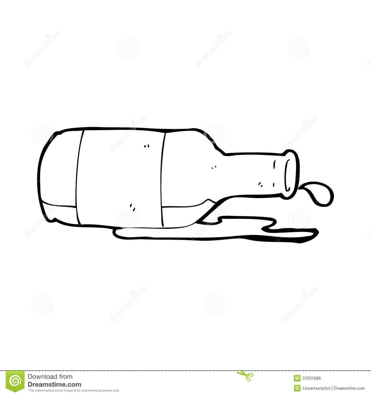 One Line Art Beer : Cartoon spilled beer stock illustration of