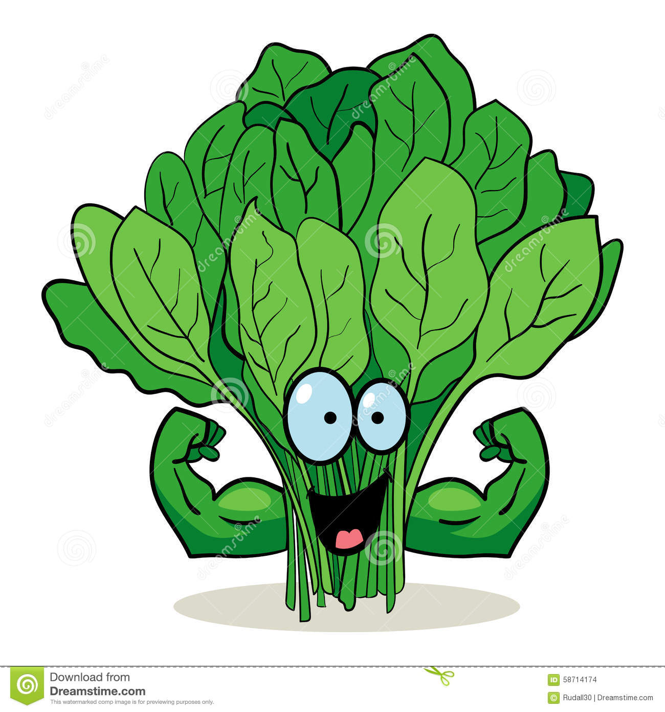Cartoon character of spinach with muscular hands.