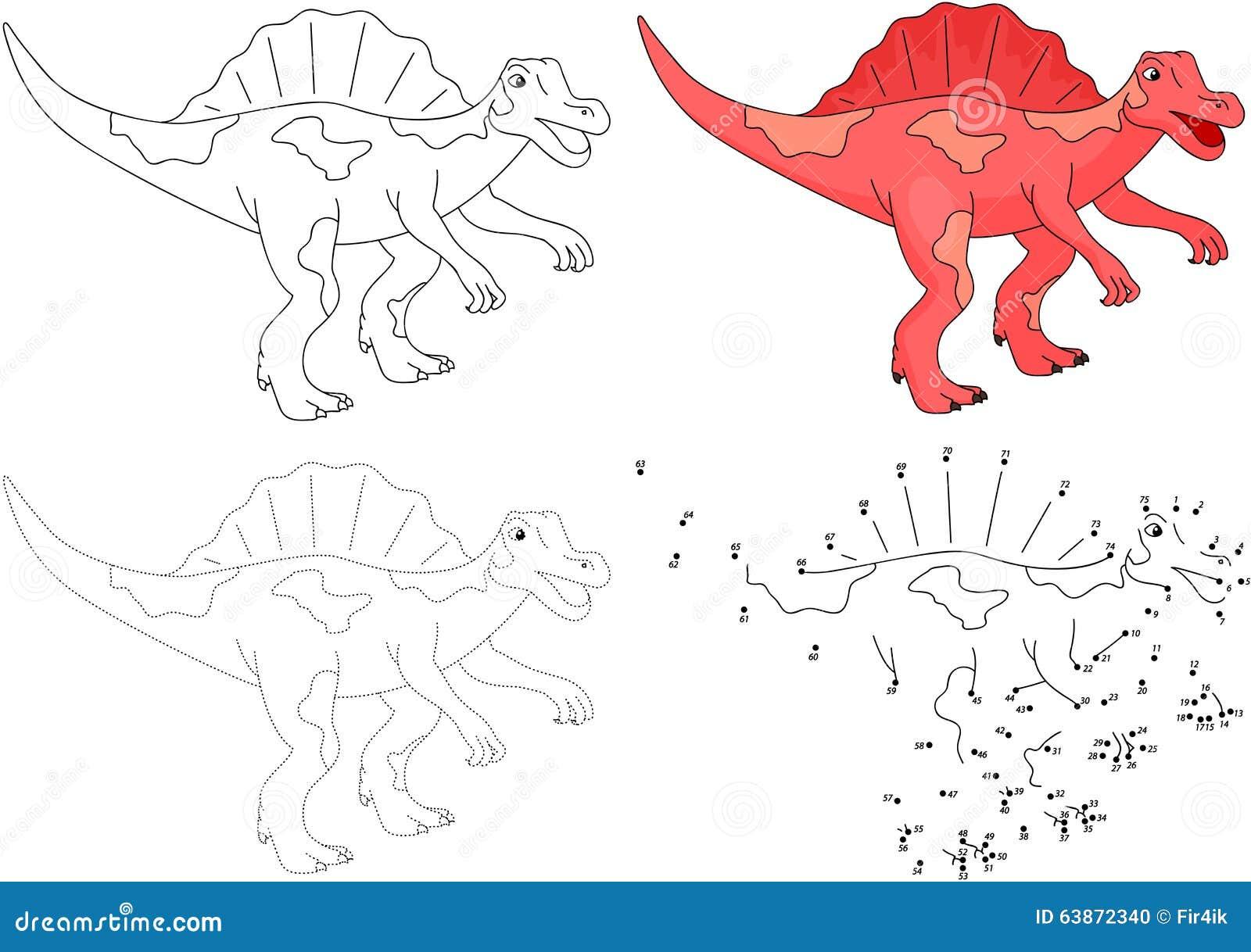 cartoon spinosaurus vector illustration dot to dot game stock