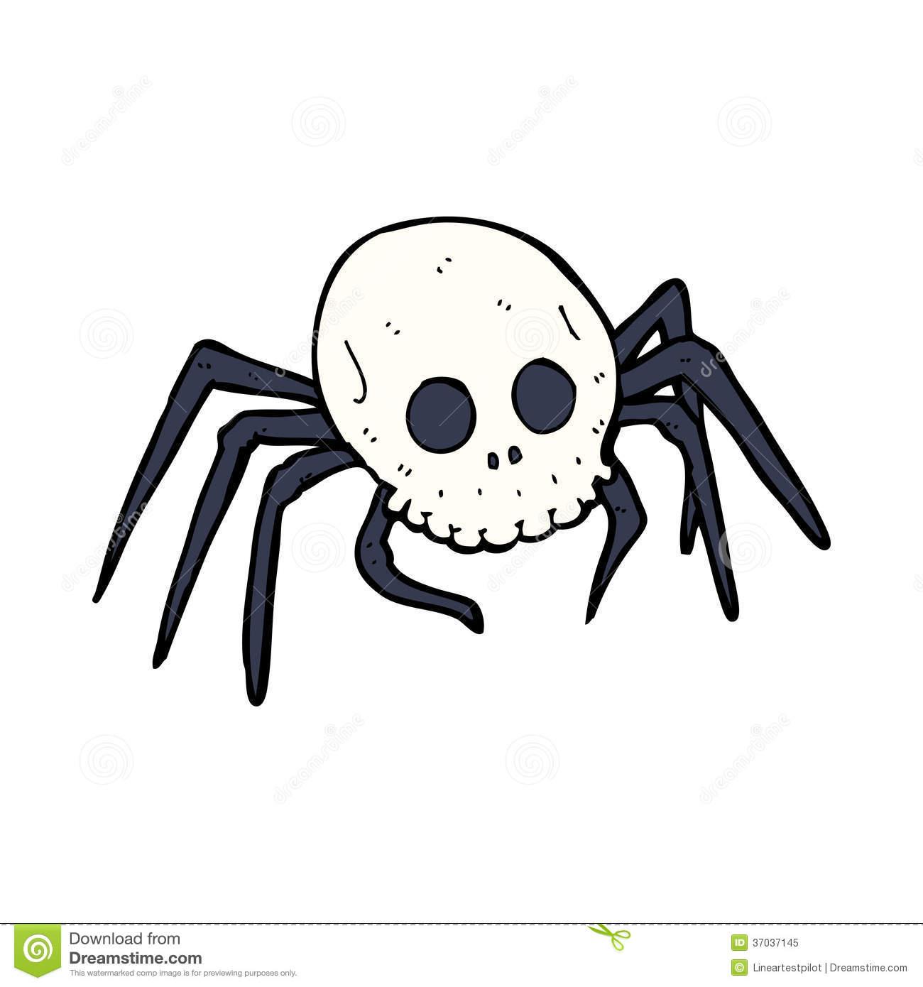 Cartoon Spooky Halloween Skull Spider Royalty Free Stock ...