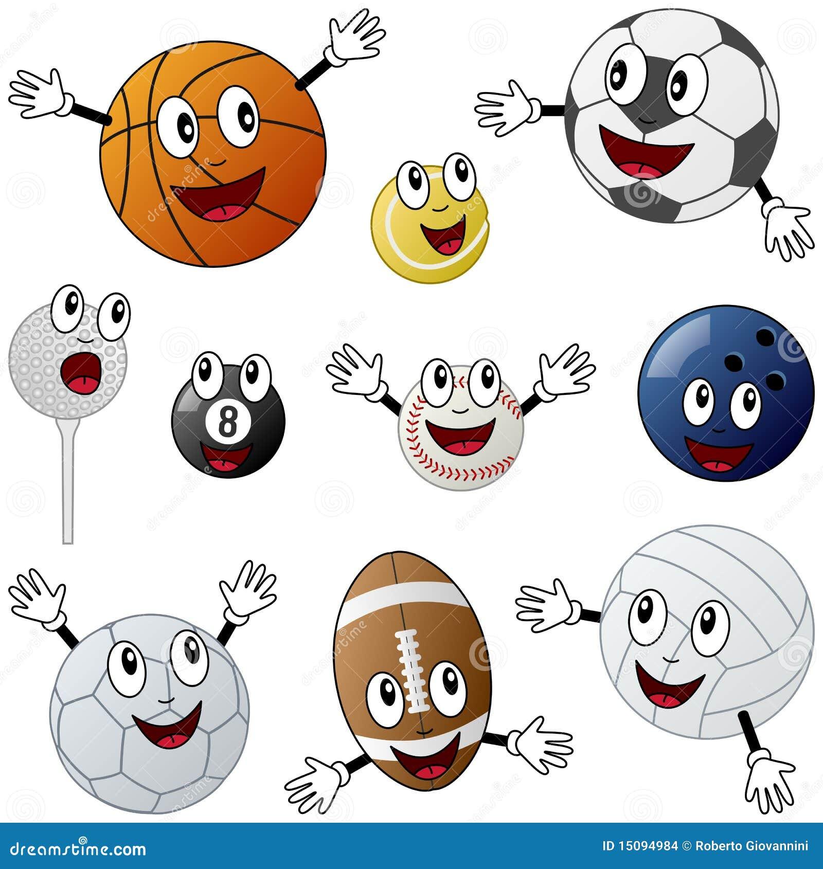Cartoon Sport Balls Characters Stock Vector Illustration Of